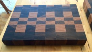 Walnut and maple end-grain cutting board