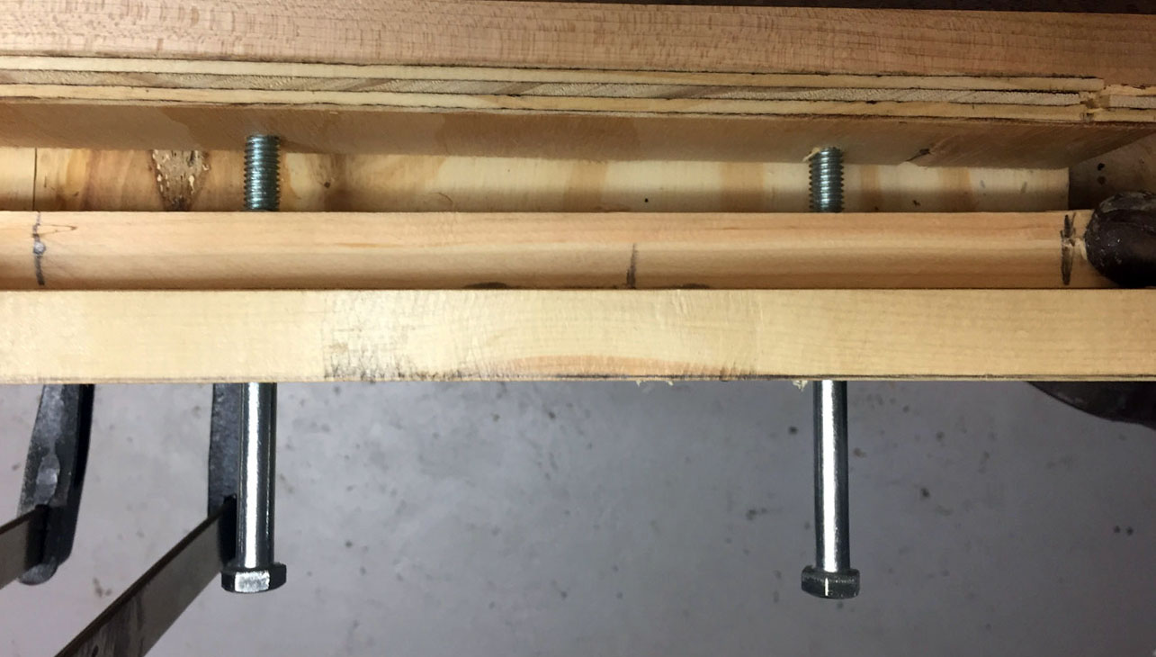 Using bolts to apply pressure instead of bar clamps